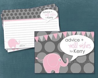 Little Elephant Advice & Well Wishes Cards for MOM / BRIDE to Be Printable Cards by Tipsy Graphics. Any Colors