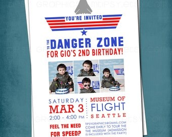 Top Gun Inspired Fighter Jet Birthday Party Invite with Photo by Tipsy Graphics. Any colors and text.