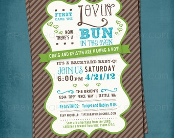 First Came the Lovin. Bun in the Oven Baby Shower Invite by Tipsy Graphics. Any colors and text.