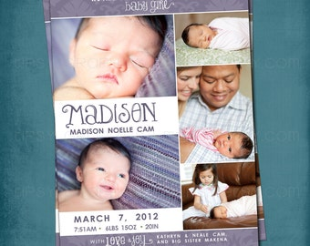 Big Damask 5 Photo Collage Birth Announcement by Tipsy Graphics.  Any colors and text