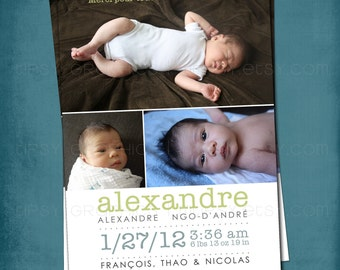 Modern Type Simple and Sweet Birth Announcement or Invite by Tipsy Graphics. Any colors for 1 or more photos