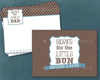 Bun in the Oven Advice & Well Wish Cards for Mom and Dad to Be. By Tipsy Graphics.  Printable Cards Any Colors