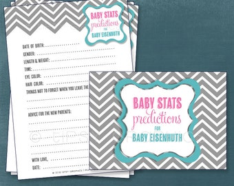 Chevron. Baby Stats. Predictions for Baby and Advice for the Parents to Be.   Gender Neutral. Printable Cards, any Colors. By Tipsy Graphics