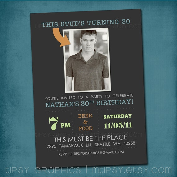 This STUD is Turning 30. Modern Milestone Birthday Party Invite Perfect with Old School Photo by Tipsy Graphics. Any age, any colors