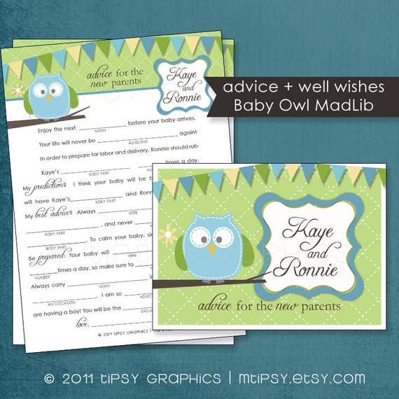 Baby Shower Tips For New Moms: Items Similar To Baby Owl Funny Advice & Well Wishes For