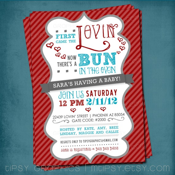 First Came the Lovin. Bun in the Oven Baby Shower Invite by Tipsy Graphics. Any colors