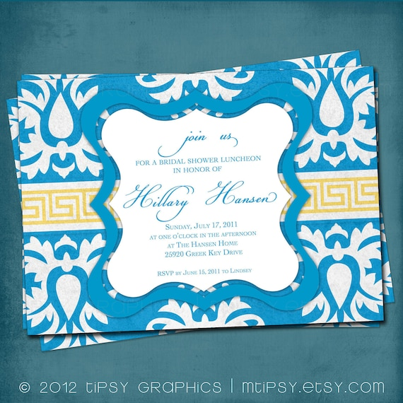 Big Damask GREEK KEY Bridal Shower Invitation.  Brilliant Blue and Gold by Tipsy Graphics. Coordinating shower accessories available