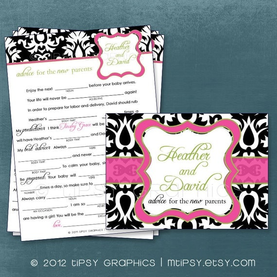 Damask. Funny Advice & Well Wishes for the NEW PARENTS Mad Lib MadLib Adlib By Tipsy Graphics. Printable Cards, any Colors.