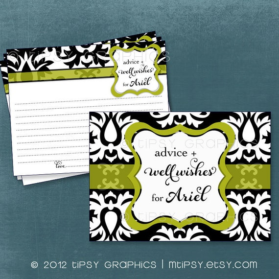 Big Damask Vintage Advice & Well Wish Cards for MOM / BRIDE to Be. Printable Cards for Baby or Bridal Shower by Tipsy Graphics. Any Colors