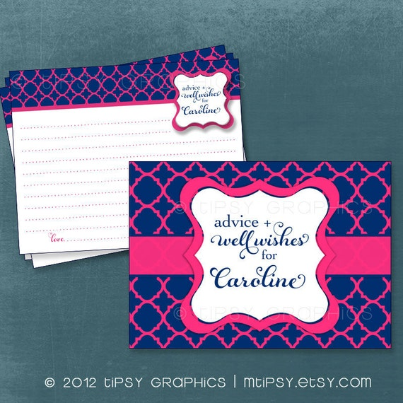 Quatrefoil Advice & Well Wish Cards for MOM / BRIDE to Be. Printable Cards for Baby or Bridal Shower by Tipsy Graphics. Any Colors