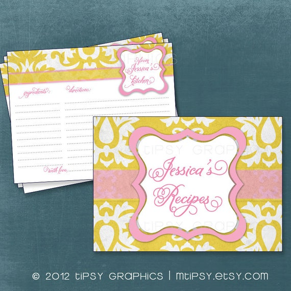 Big Damask Vintage Recipe Cards.  Printable Cards for Baby or Bridal Shower. Recipe Swap by Tipsy Graphics. Any Colors