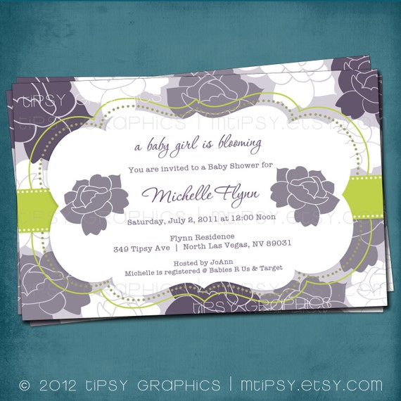 Roses and Stripes Shabby Chic Baby / Bridal Shower Invitation.  Customized for your Baby or Bridal Shower by Tipsy Graphics
