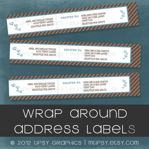Bun in the Oven Wrap Around Address Labels. Hearts and Stripes. Labels by Tipsy Graphics. Any colors