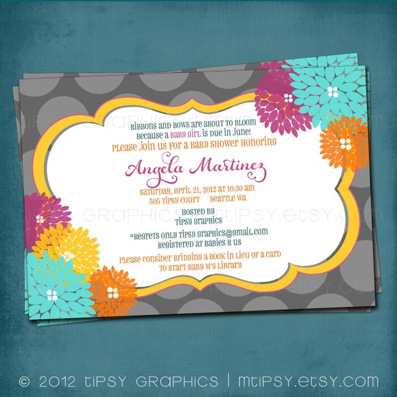 Love is in Bloom Floral Polka Dot Shower Invite by Tipsy Graphics. Any colors and text.