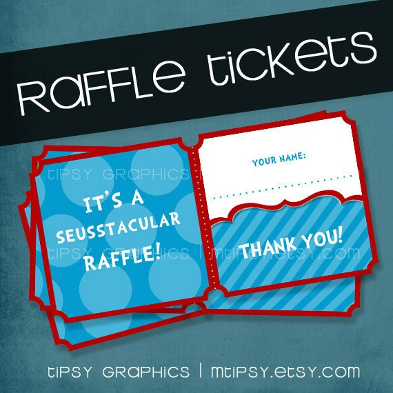 Dr. Seuss Printable DIY Diaper / Book Baby Shower Raffle Tickets Tipsy Graphics. Any colors.