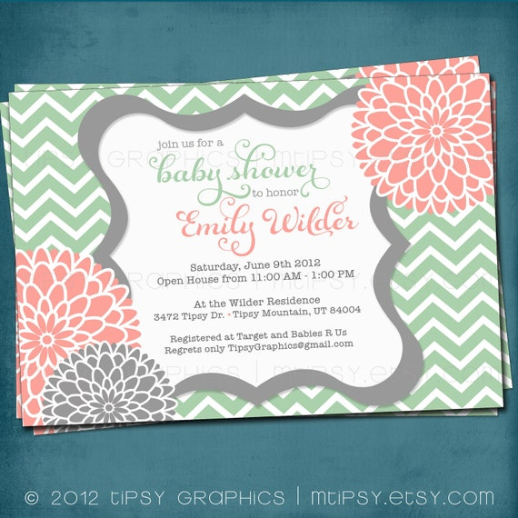 Spa Pom Pom. Chevron Mums Baby / Bridal Shower Invite by Tipsy Graphics. Any colors and text.
