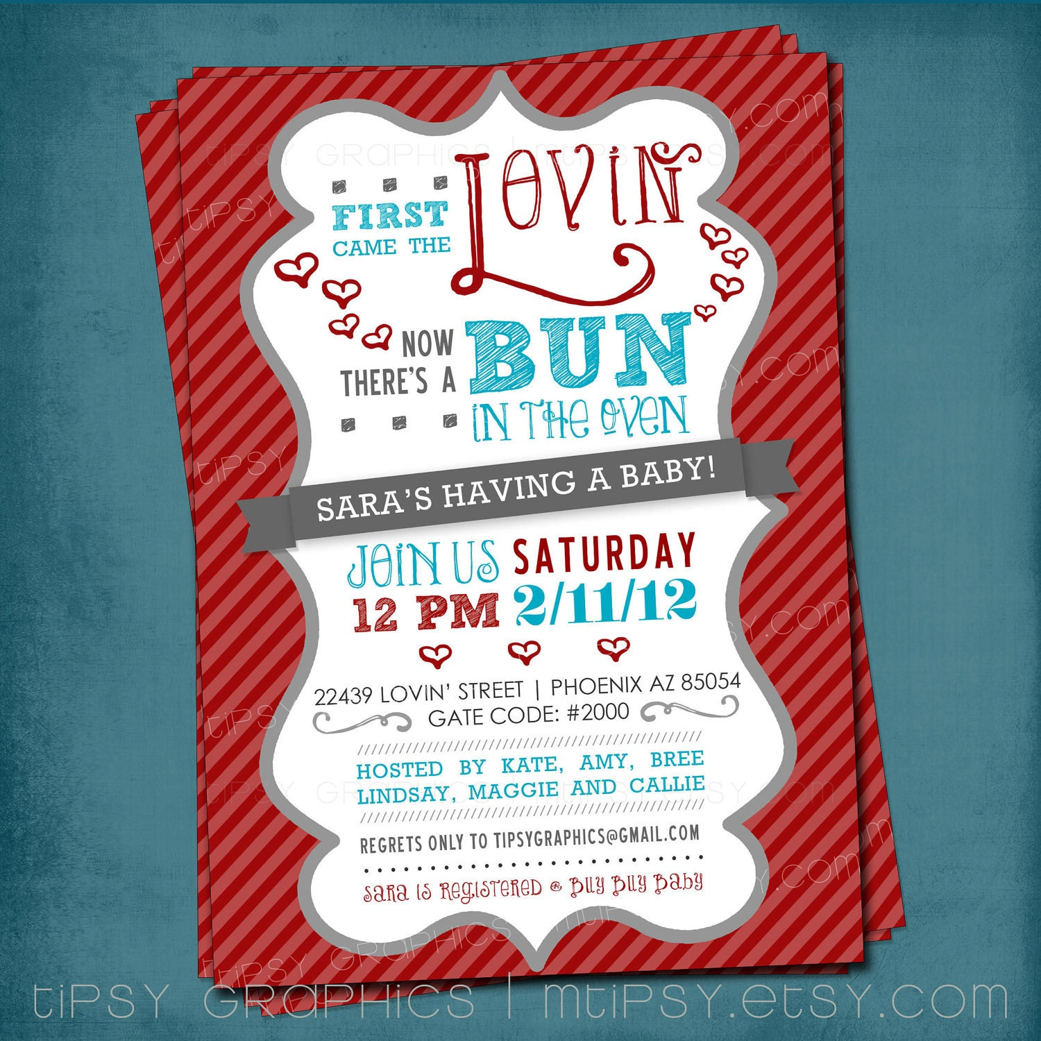 first came the lovin bun in the oven baby shower invite by mtipsy
