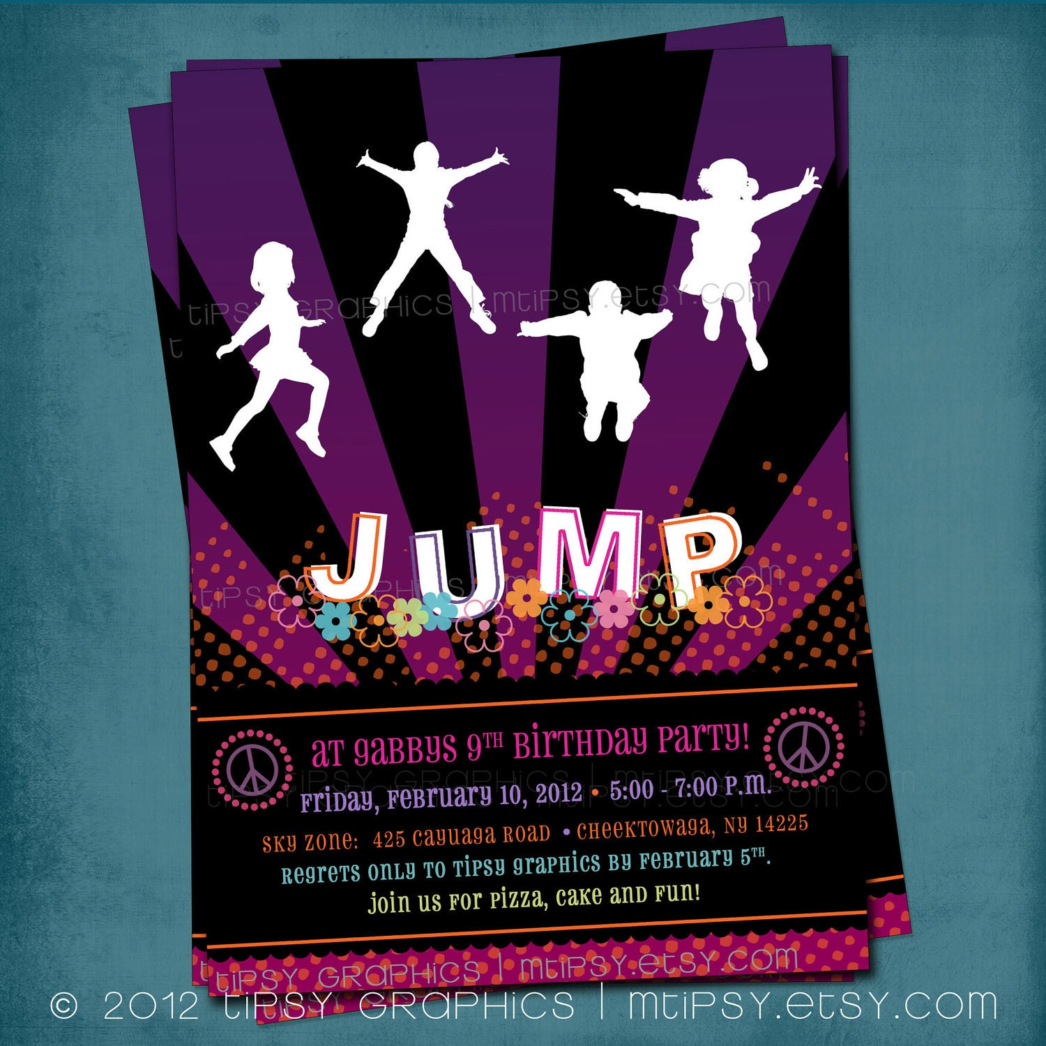 trampoline bounce birthday party invitation girly peace 128270zoom
