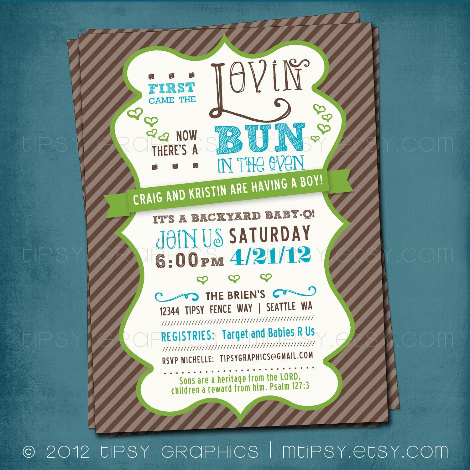 First Came The Lovin. Bun In The Oven Baby Shower Invite By