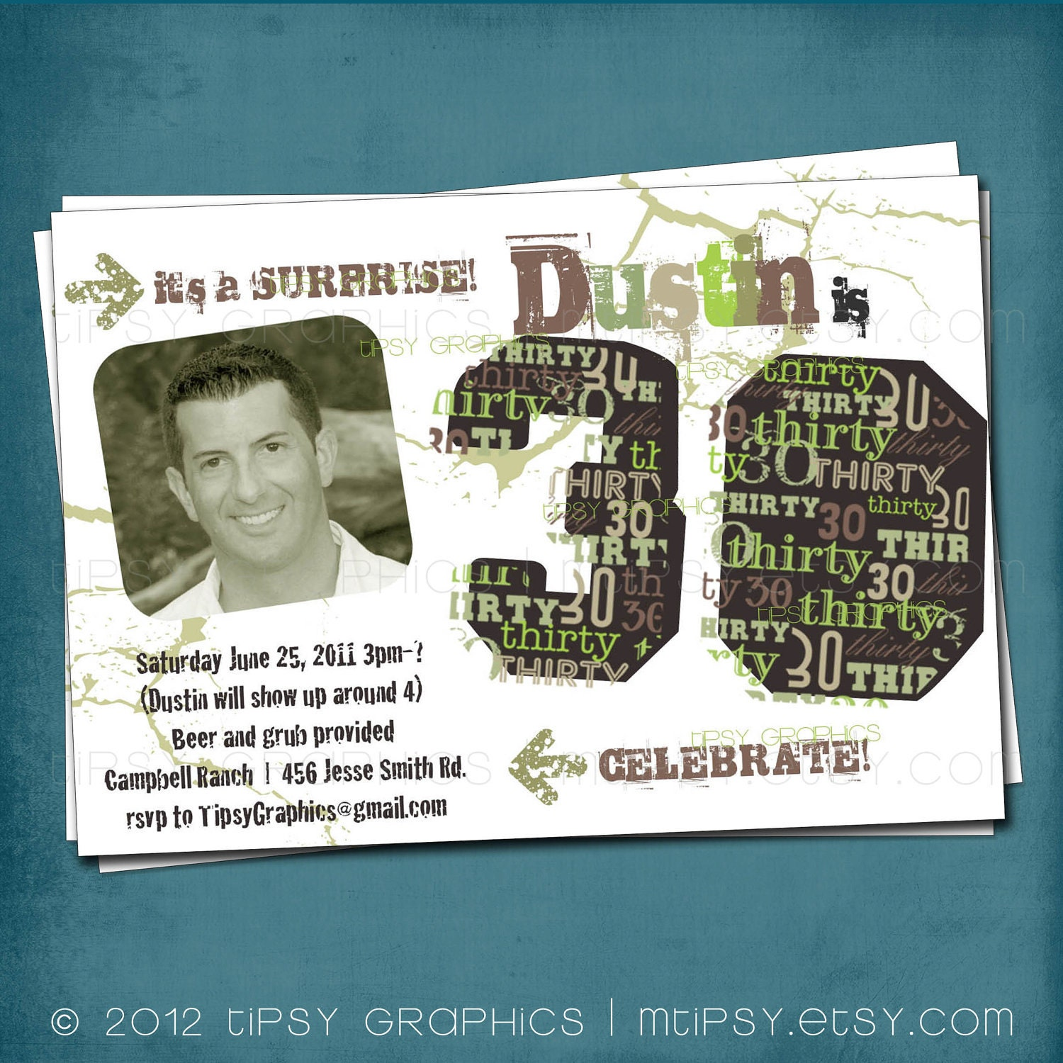 The Dirty Thirty 30th Birthday Party Invite Surprise – 30th Birthday Party Invitation