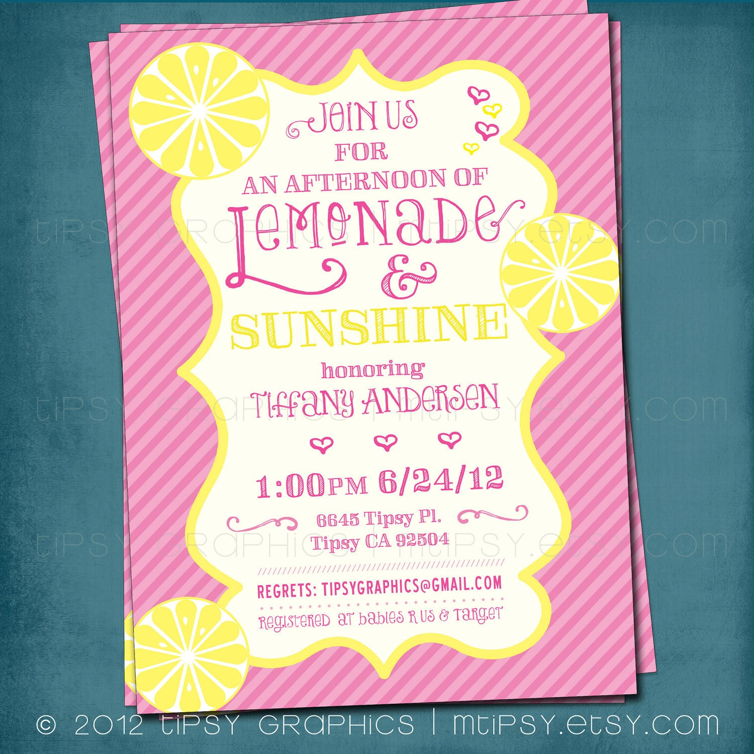 Baby Shower Yellow And Pink ~ Lemonade and sunshine baby or bridal shower invite yellow