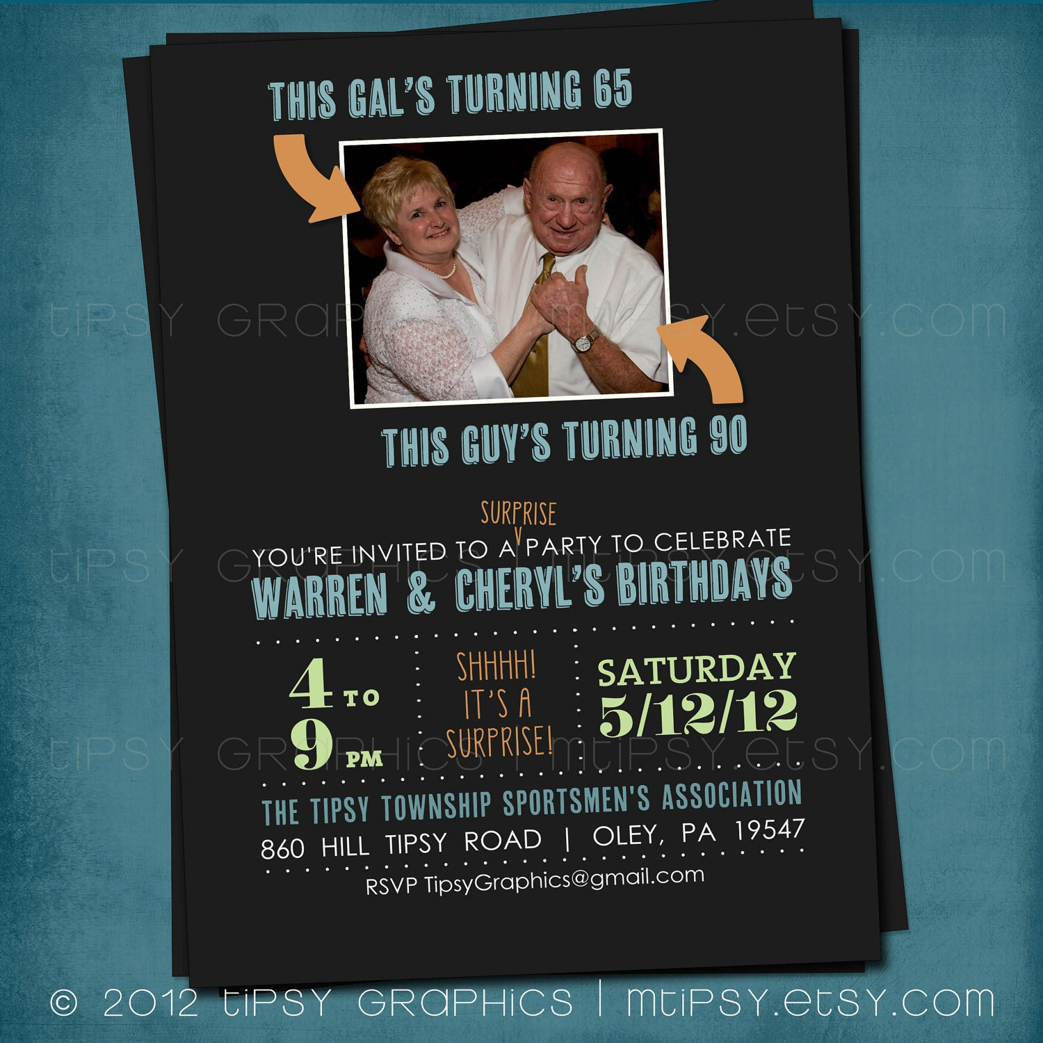 Joint Milestone Surprise Birthday Party Invite Double Party