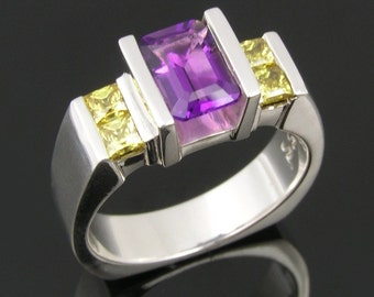 Sterling Silver Amethyst and Cubic Zirconia Ring by Hileman