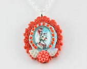 Coral and Light Blue Circus Pony Necklace