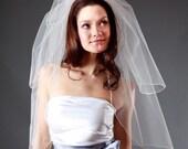Wedding Veil  - Handmade 2-Tier Pencil Edge Elbow Length - White, Diamond White, Light Ivory, Ivory, Champagne, Blush - made to order