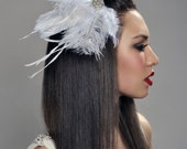 Wedding Hair Fascinator - Bridal Hair Pin with Different Feathers and Swarovski Brooch - ready to ship