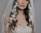 Wedding Veil - Two Tier Veil with Gorgeous FRENCH Lace Appliques Adorned with Swarovski Crystals, Embroidery, and Sequins