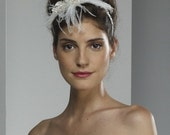 Wedding Fascinator Headband - Ivory lace with Ostrich Feathers and Swarovski Crystals - ready to ship