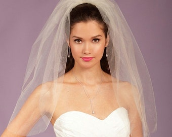 Wedding Veil - Two Tier Cut Edge Elbow Length in Glimmer Tulle with Genuine Swarovski Crystals