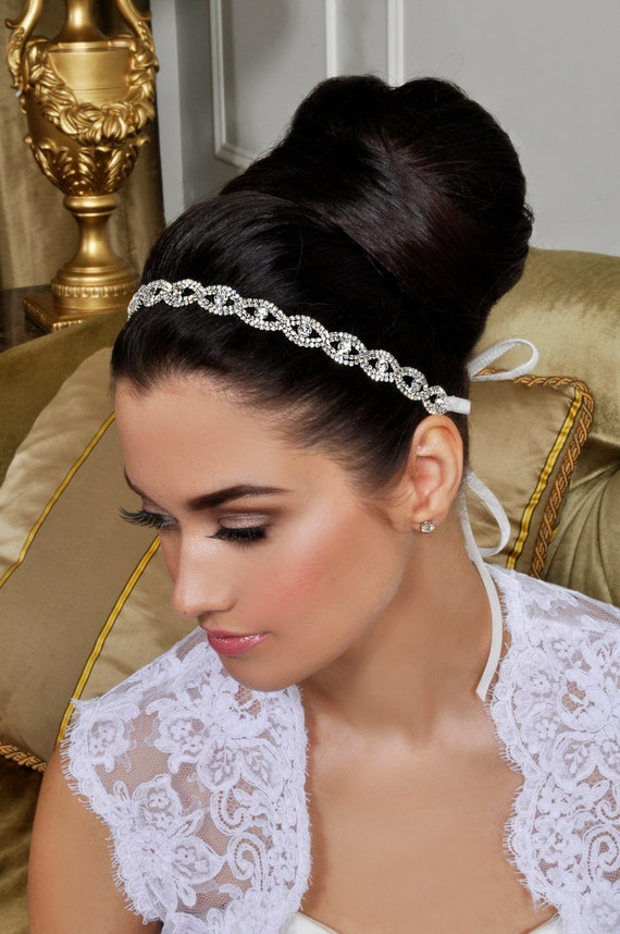 Bridal Headband - Beautiful Wedding Tiara - Crystals and Ribbon