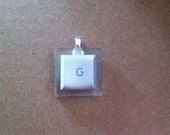 G Mac Laptop Computer Key Pendant in Silver - luckyLadyDesign