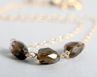SALE 15% OFF (was 56.50, now 48.03) Smokey quartz necklace, 14k gold fill, adjustable, gold necklace, brown, Mimi Michele Jewelry