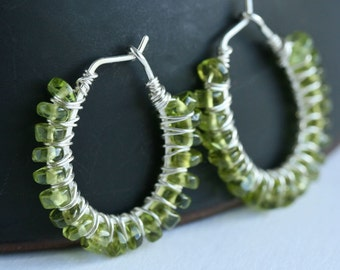 Green peridot hoop earrings, beaded hoop, wire wrapped hoops, green earrings, gemstone, oval hoops, Mimi Michele Jewelry