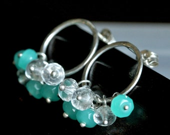 Beaded post earrings, teal green Czech glass, aqua, hoop, cluster earrings, wire wrapped, circle earrings, Mimi Michele Jewelry