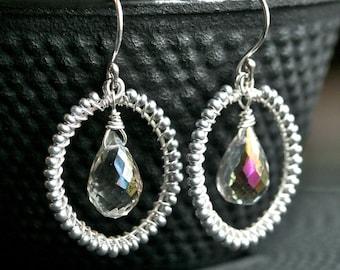 Seed bead drop earrings, mystic quartz, teardrop bead, wire wrapped jewelry, dangle hoops, Mimi Michele Jewelry