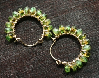 Green hoops, Czech glass, 14k gold filled, beaded hoops, wire wrapped earrings, green earrings, Mimi Michele Jewelry