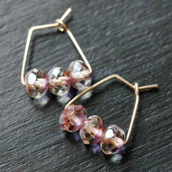 Handmade small hoop earrings, pink earrings, 14k gold filled, Czech glass, triangle earrings, Mimi Michele Jewelry