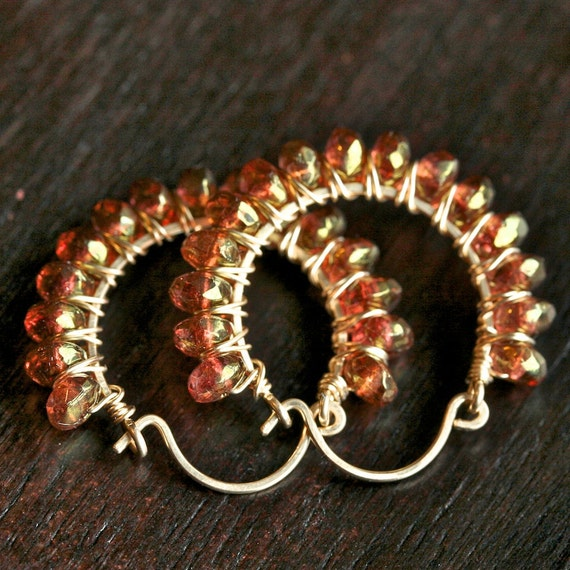 Handmade wire wrapped hoops, gold filled hoops, amber Czech glass beaded hoop, orange earrings, Mimi Michele Jewelry