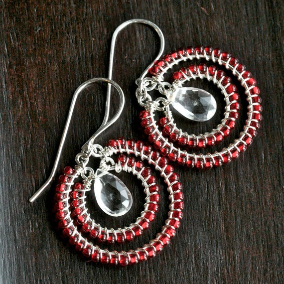 Sterling silver hoop earrings, red glass seed bead earrings, quartz crystal teardrop, beaded hoops, wire wrapped earrings