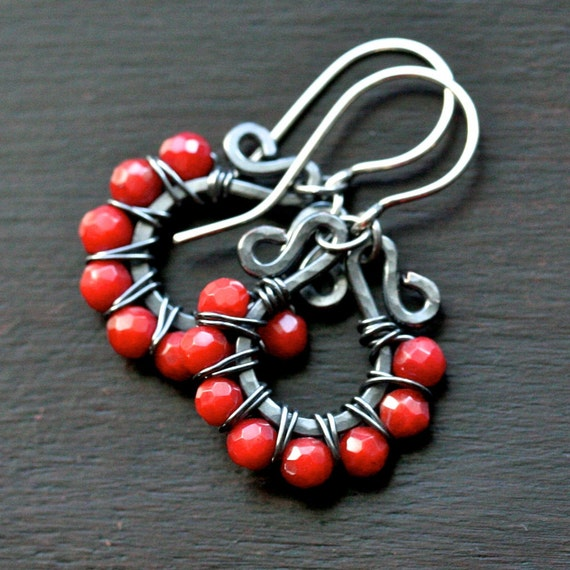 Handmade beaded hoops, red coral, oxidized copper, wire wrapped earrings, red earrings, sterling silver, Mimi Michele Jewelry