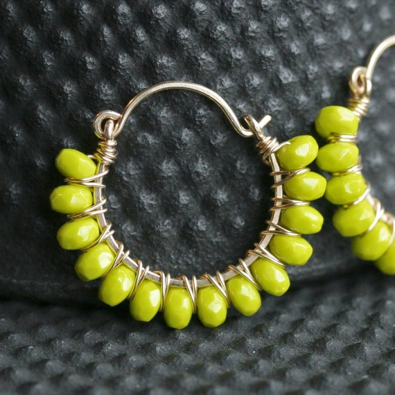 Handmade wire wrapped hoops, hoop earrings, chartreuse, lime green, beaded hoops, gold filled earrings, Mimi Michele Jewelry