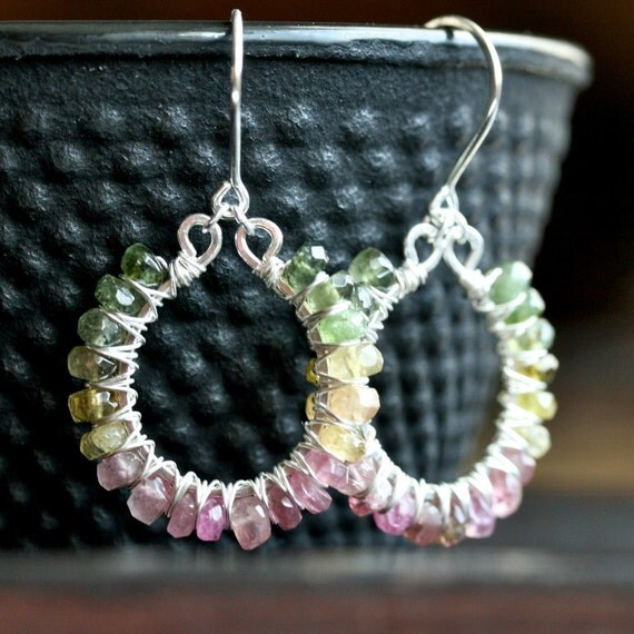 Handmade watermelon tourmaline hoops, sterling silver, wire wrapped earrings, beaded, dangle hoops, pink, green, Mimi Michele Jewelry