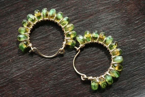 Green hoops, Czech glass, 14k gold filled, beaded hoops, wire wrapped earrings, green earrings, Mimi Michele Jewelry