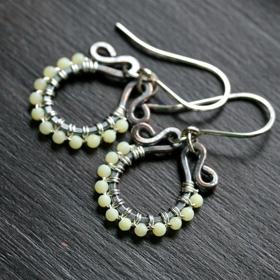 Handmade beaded dangle earrings, light green olive jade, copper, sterling silver, mixed metal, wire wrapped