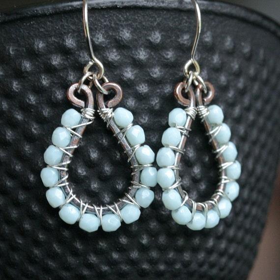 Handmade beaded earrings, light aqua blue, Czech glass copper earrings, sterling silver, mixed metal, wire wrapped