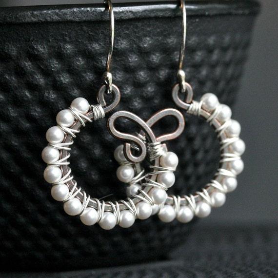 Handmade beaded dangle earrings, white pearl, faux pearl, oxidized copper earrings, sterling silver, hoop, mixed metal, wire wrapped